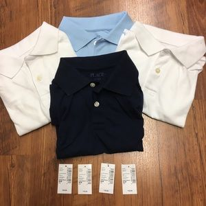 Children's Place polo uniform tops white/blue